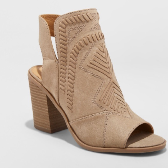 Open Toe Booties Tan Size 75 Worn Once